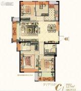 中庚・香�R融江4室2厅2卫127平方米户型图