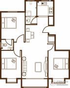宝泰花园3室2厅2卫126--127平方米户型图