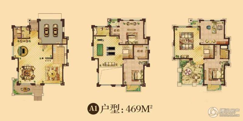 天鹅湖庄园111#独栋别墅a1户型5室3厅3卫1厨 469.00㎡