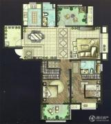 世茂香槟湖2室2厅2卫135平方米户型图
