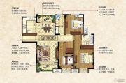 中南锦城3室2厅2卫128平方米户型图