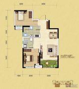中铁逸都2室2厅1卫79平方米户型图