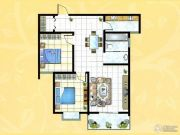 揽翠城2室2厅1卫95平方米户型图