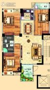 鸿泰华府3室2厅2卫128平方米户型图