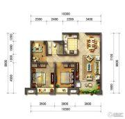 光明澜山3室2厅1卫90平方米户型图