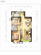 坤元TIME2室2厅1卫80平方米户型图