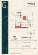 银港国际2室2厅2卫109平方米户型图