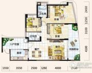 雅居乐十里花巷3室2厅2卫126平方米户型图