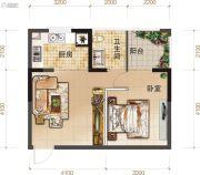 上品・百合园1室1厅1卫51平方米户型图