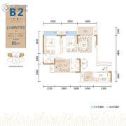 金茂国际生态新城3室2厅2卫95平方米户型图