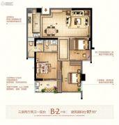 富闽时代广场3室2厅2卫97平方米户型图