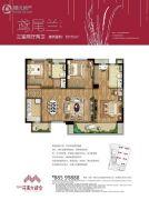 万科花溪大都会3室2厅2卫115平方米户型图