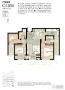 林荫大院3室2厅2卫117平方米户型图