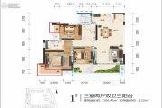 江岸国际3室2厅2卫106平方米户型图