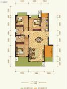 康田紫悦府3室2厅2卫89平方米户型图