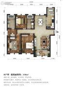 东湖方舟3室2厅2卫156平方米户型图