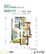 翡翠国际・君悦湾3室2厅1卫83平方米户型图
