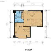君湖尚寓1室1厅1卫74平方米户型图