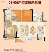 佛山万科城3室2厅2卫84平方米户型图