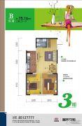 中国铁建国际花园2室2厅1卫75平方米户型图