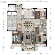 信达万科城3室2厅2卫125平方米户型图