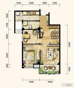 明发城市广场2室2厅1卫87平方米户型图