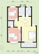 祥安花园2室2厅1卫87平方米户型图