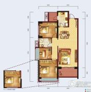 泰然南湖玫瑰湾3室2厅1卫101平方米户型图