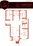 中景・左岸香颂3室2厅2卫124平方米户型图