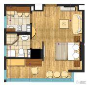 九洲新世界1室2厅1卫54平方米户型图