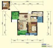 弘阳广场2室2厅1卫77平方米户型图