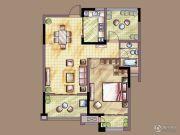 河海尚枫澜湾2室2厅1卫84平方米户型图