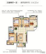 恒泰春天3室2厅1卫114平方米户型图