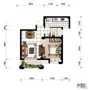 香河湾1室1厅1卫57平方米户型图