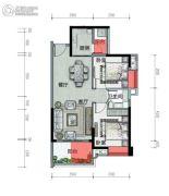 广铝荔富湖畔2室2厅1卫75平方米户型图
