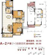 金碧丽江东海岸2室2厅1卫65平方米户型图