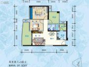 海悦长滩2室2厅1卫91平方米户型图