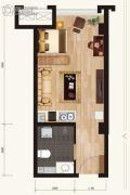 新合作城市广场1室1厅1卫43平方米户型图