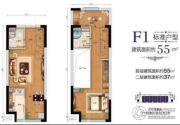 八达岭孔雀城0室0厅0卫55平方米户型图