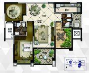雅居乐御龙山2室2厅2卫129平方米户型图