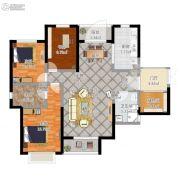 天玺台翡翠系精装3室2厅2卫109平方米户型图
