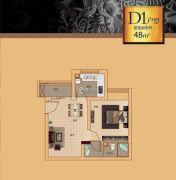 漓江盘龙湾1室1厅1卫48平方米户型图