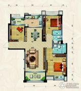 淄博碧桂园3室2厅2卫134平方米户型图
