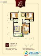 九乐倾城3室2厅1卫102平方米户型图