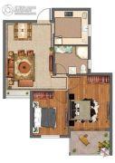 紫微台2室2厅1卫76--80平方米户型图
