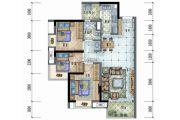 保利远洋领秀山3室2厅1卫88平方米户型图