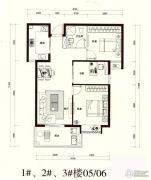 奥体公馆3室2厅1卫85平方米户型图