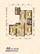 傲北上城3室2厅1卫129平方米户型图