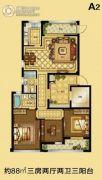大发・凯旋门3室2厅2卫88平方米户型图
