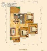 皇家花园壹号3室2厅2卫97平方米户型图